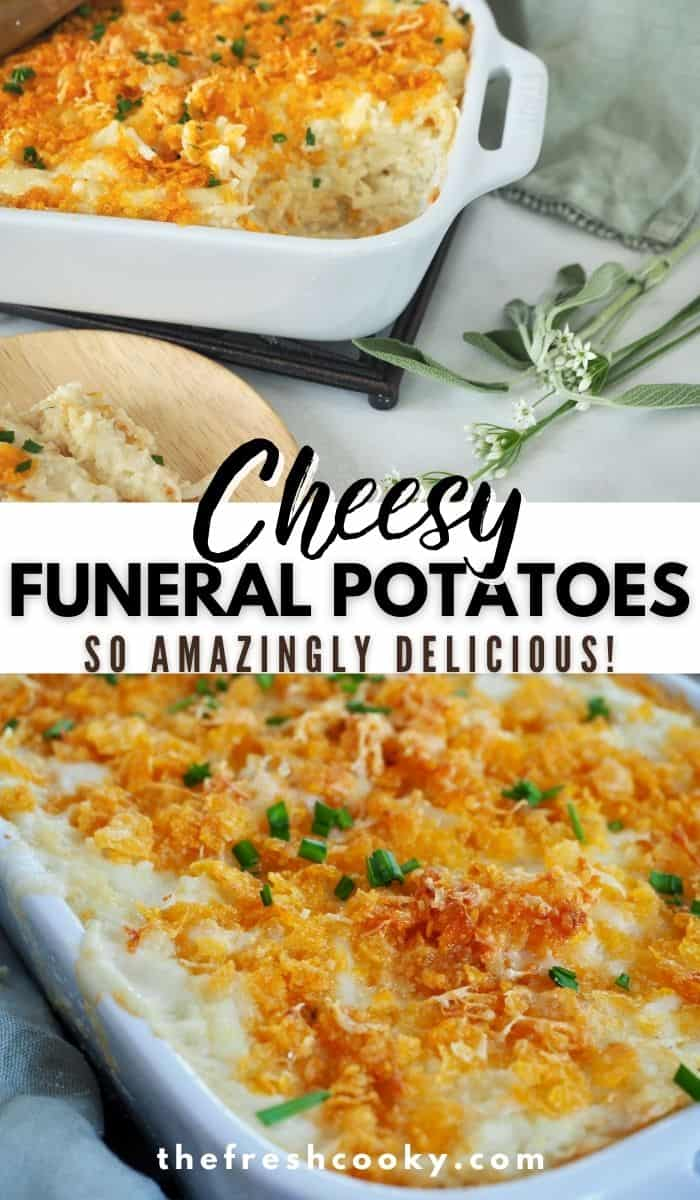 Find out what Funeral Potatoes are on The Fresh Cooky! These are the easiest, best cheesy potatoes ever! Make ahead, freezer friendly and gluten free option! WIN! Frozen hash browns mixed with a homemade cream sauce, real shredded cheese, sour cream and topped with a buttery corn flake topping. Great as a Thanksgiving or Christmas side dish (or any holiday) or potluck. #thefreshcooky #cheesyfuneralpotatoes #partypotatoes via @thefreshcooky