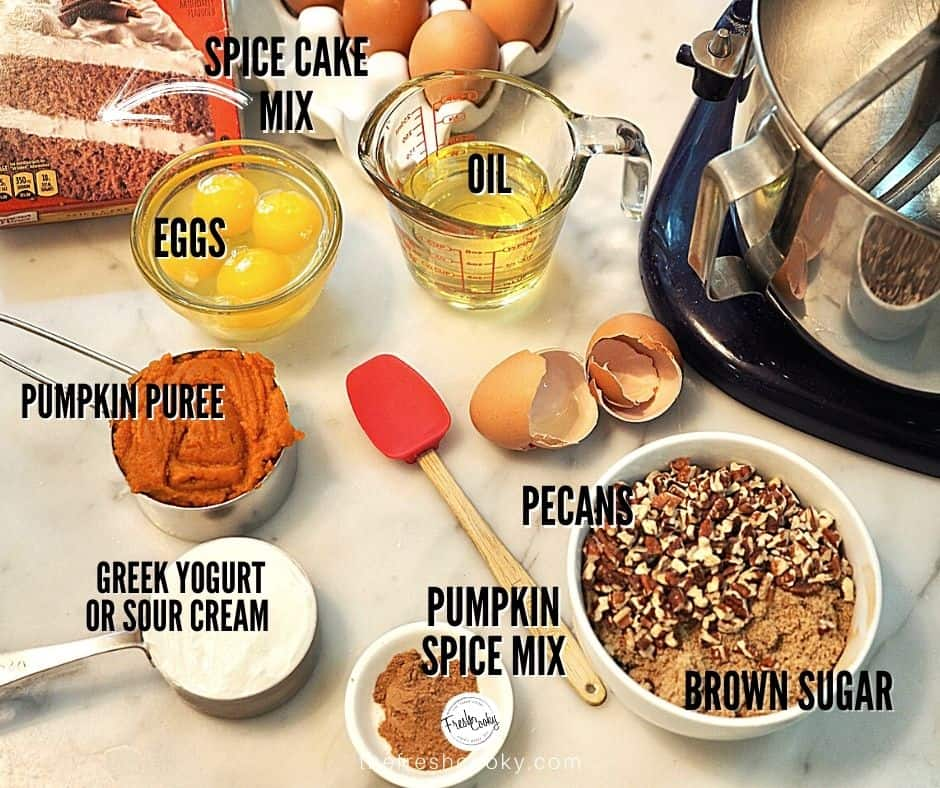 List of ingredients for Pumpkin Spice Cake with images of each item and print over that item.