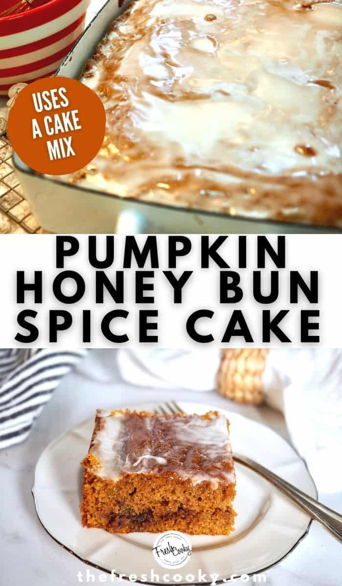 Make your own crazy good Pumpkin Honey Bun Spice Cake with a warm brown sugar pecan swirl and maple glaze on top. This recipe is easy to make, make as a sheet coffee cake, bundt or cupcakes. High altitude instructions and simple video included. #thefreshcooky #pumpkinspicecake #coffeecake  via @thefreshcooky