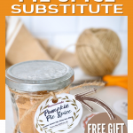 Pin for Pumpkin Pie Spice Substitute with jar of pumpkin pie spice mix and a pretty label, free to download.