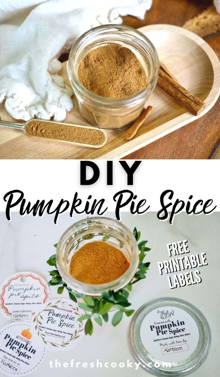 Don't buy Pumpkin Pie Spice, DIY it! Make your own homemade Pumpkin spice mix this fall baking season! Great as food and holiday gifts as well! Plus free printable gift tags or labels. Recipe and labels via @thefreshcooky | #pumpkin #fallbaking #easyrecipes #hostessgiftideas #giftideas  via @thefreshcooky