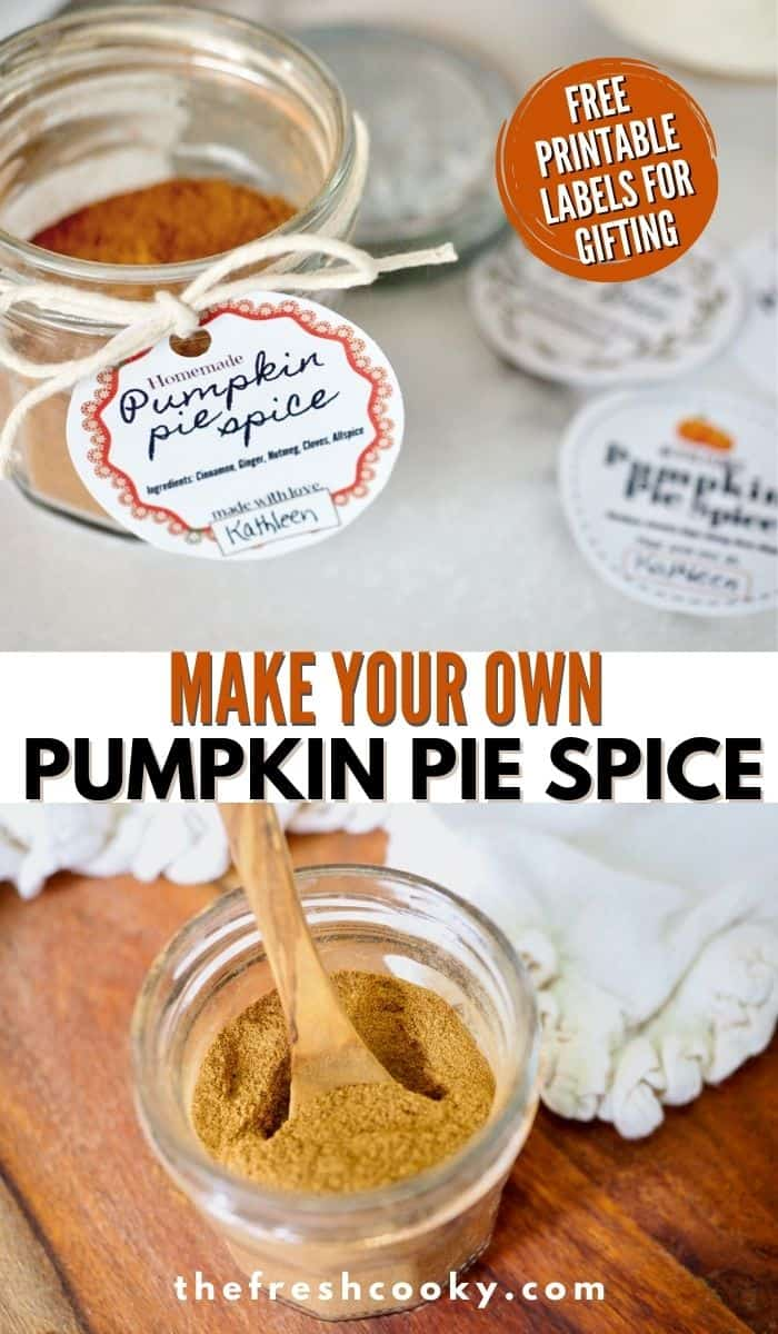 DIY Pumpkin Pie Spice mix this fall baking season! 5 pantry spices and 5 minutes is all it takes. Plus FREE printable labels. These make great holiday food gifts. Such as hostess gifts, neighbor and teacher gifts and are perfect to go in a gift basket. Recipe and labels via @thefreshcooky | #foodgifts #DIY #easyrecipe #cinnamon #ginger #allspice #cloves #nutmeg #fallbaking  via @thefreshcooky