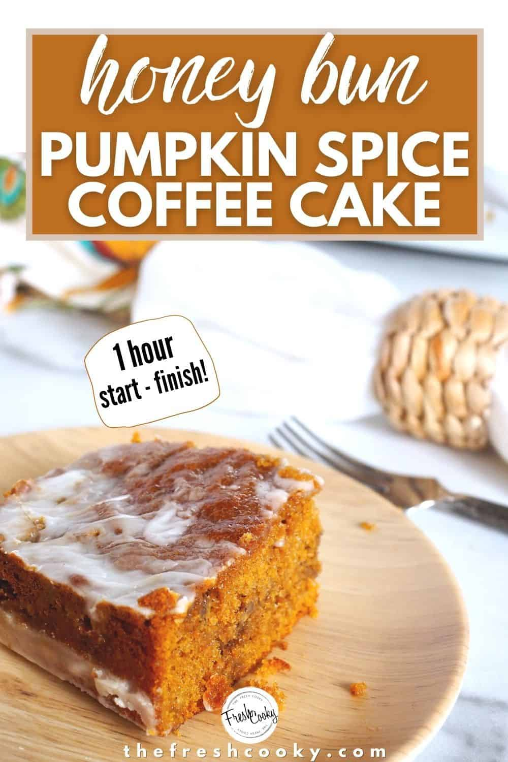 Simple pumpkin honey bun spice cake with a warm maple glaze from The Fresh Cooky is perfect for fall baking! This almost from scratch recipe uses a cake mix and comes together quickly for the best coffee cake of the season. High altitude adjustments included. Try it as a Pumpkin Bundt or cupcakes, includes video. #thefreshcooky #pumpkincake #spicecake via @thefreshcooky