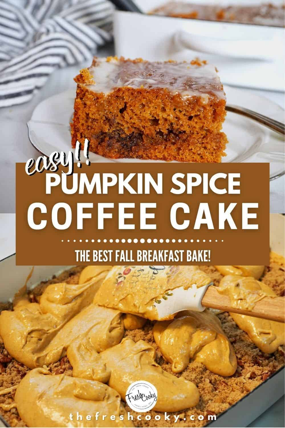 Fall temps bring the desire to bake, like this crazy good, easy Pumpkin Spice Coffee Cake. Using a doctored up cake mix, this pumpkin cake from The Fresh Cooky is perfect for any fall or Thanksgiving morning. High altitude adjustments included in recipe. This pumpkin honey bun cake is the best! #thefreshcooky #pumpkincake #spicecake via @thefreshcooky