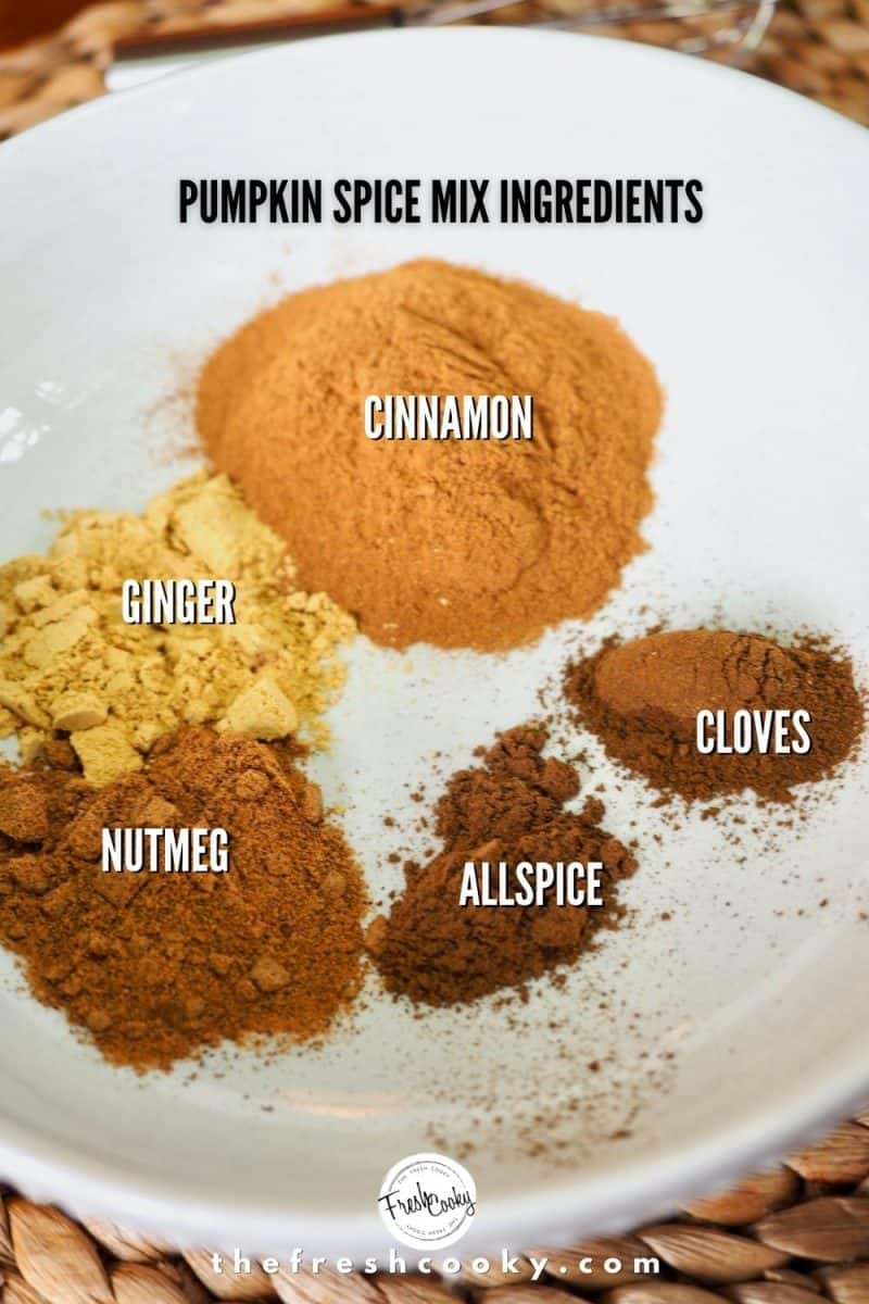Ingredients for Pumpkin Pie Spice mix. White bowl with piles of cinnamon, cloves, allspice, nutmeg and ginger