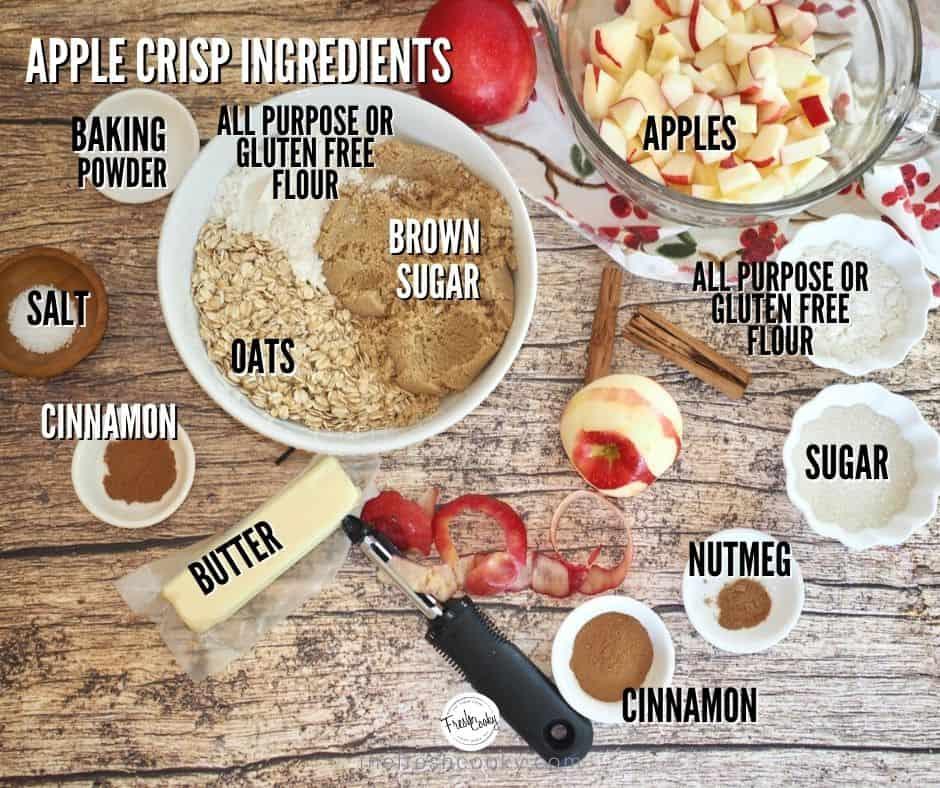 image of apple crisp ingredients.