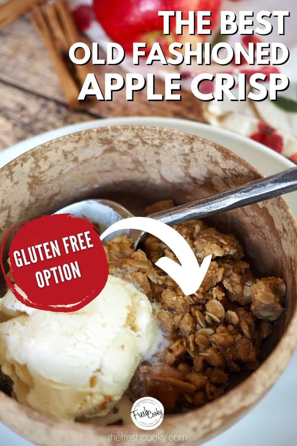 The best easy old fashioned apple crisp, an old family recipe that comes together quickly. Simple options to make gluten free and vegan, serve warm with ice cream. A favorite fall apple desert! #thefreshcooky #bestapplecrisp #glutenfree via @thefreshcooky
