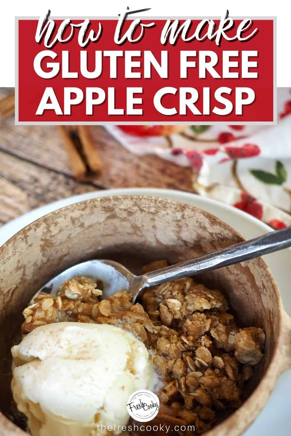This is the fall dessert you want to make this weekend. The best old fashioned apple crisp, sweet tender, apples with a lighter brown sugar buttery crisp topping. Gluten free and vegan options. #thefreshcooky #bestapplecrisp #falldesserts via @thefreshcooky
