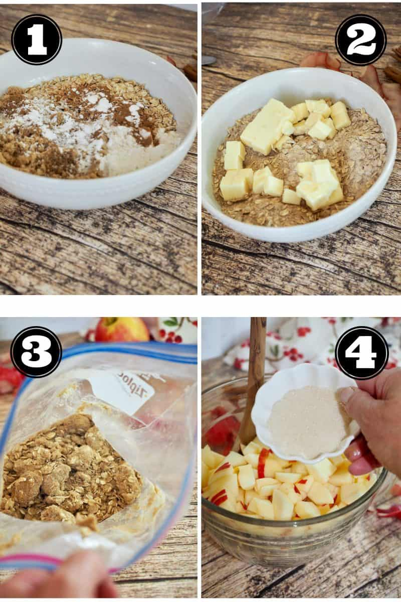 apple crisp process shots. 1. Topping dry ingredients. 2. Adding butter to topping ingredients. 3. topping in baggie. 4. adding sugar to apples