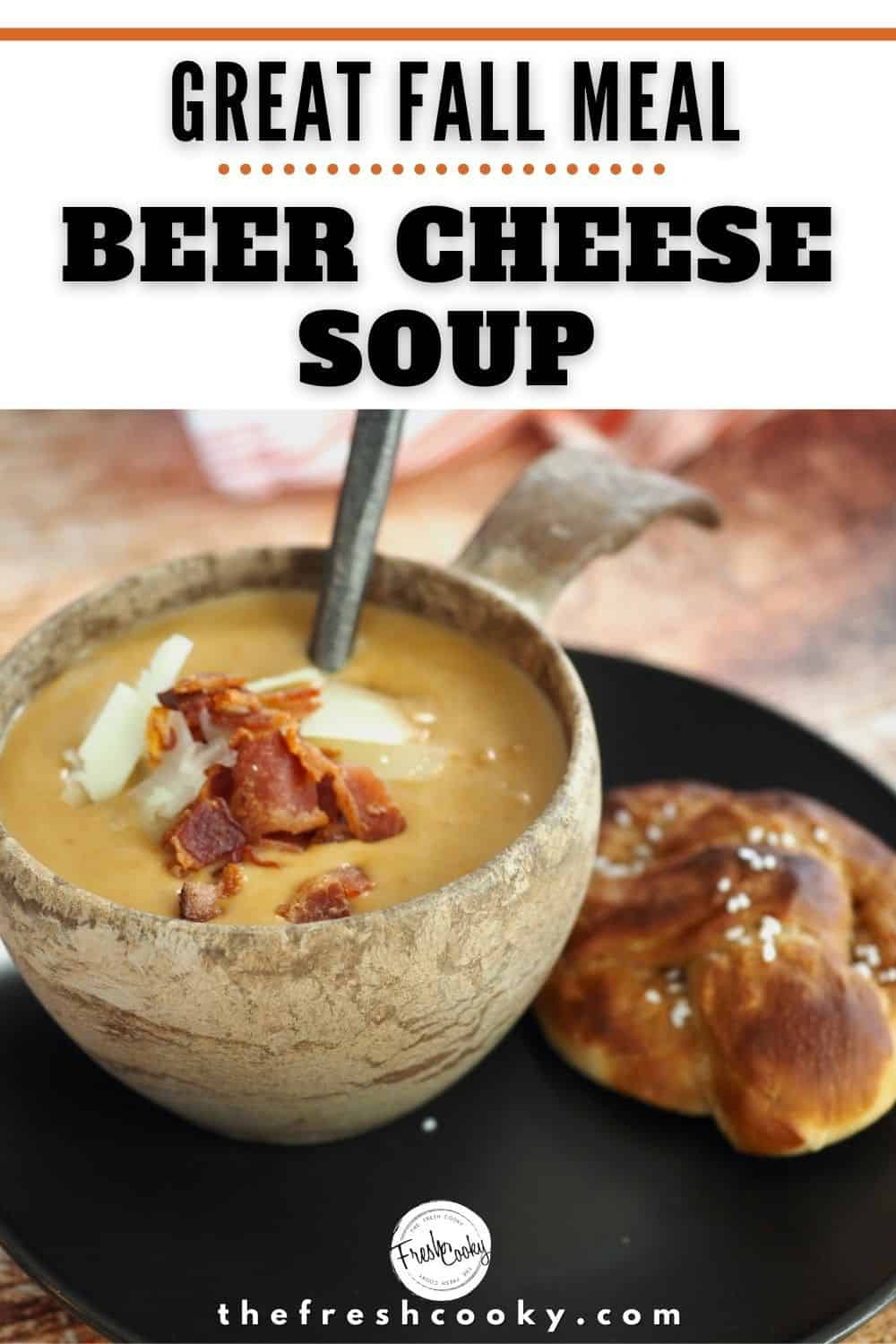 The BEST Beer Cheese Soup Ever! At least in our home here at The Fresh Cooky. We love how easy this recipe is to make, using healthy, all-natural ingredients like white sharp cheddar cheese, bacon, veggies, chicken or veggie stock. Easily make this German Cheese Soup gluten free and vegetarian by swapping ingredients out. #thefreshcooky #beercheesesoup #bestsouprecipes via @thefreshcooky