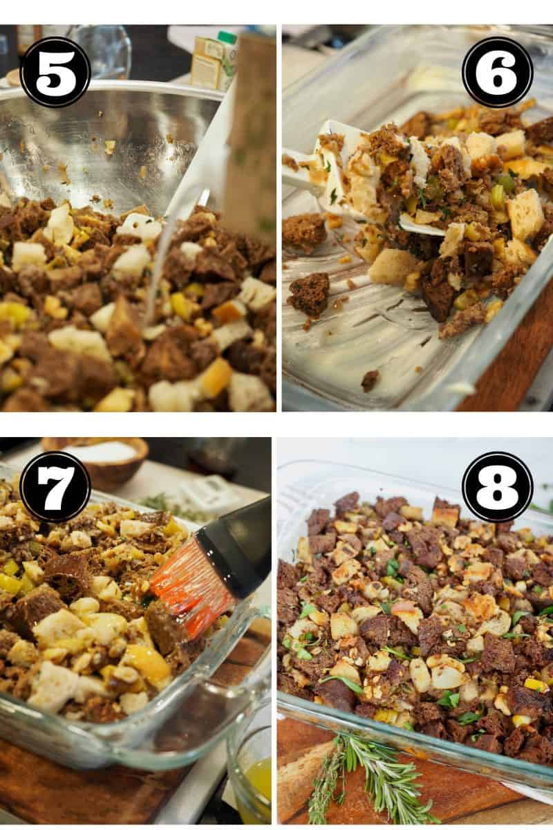 Process shots for stuffing. 5. Pouring chicken stock over cubed bread. 6. Placing mixed stuffing in buttered baking dish. 7. Brushing tops with butter. 8. baked and ready stuffing