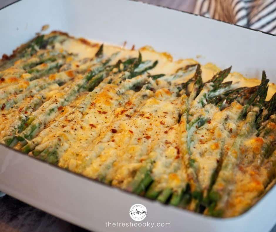 cheesy asparagus bake in Dansk casserole dish