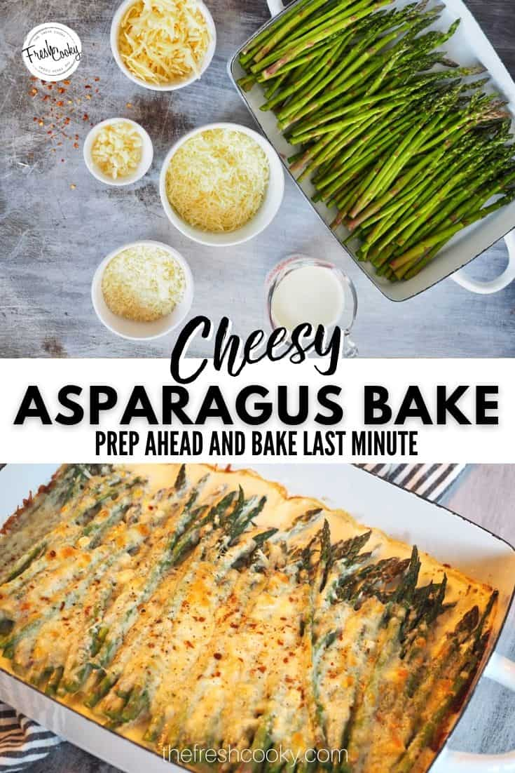 The best roasted garlic cheesy asparagus bake is an amazing vegetable side dish from The Fresh Cooky. Low prep, 5 minutes to assemble, 20 minutes to bake. Great holiday side dish! #thefreshcooky #asparaguscheesebake #bestholidaysides via @thefreshcooky