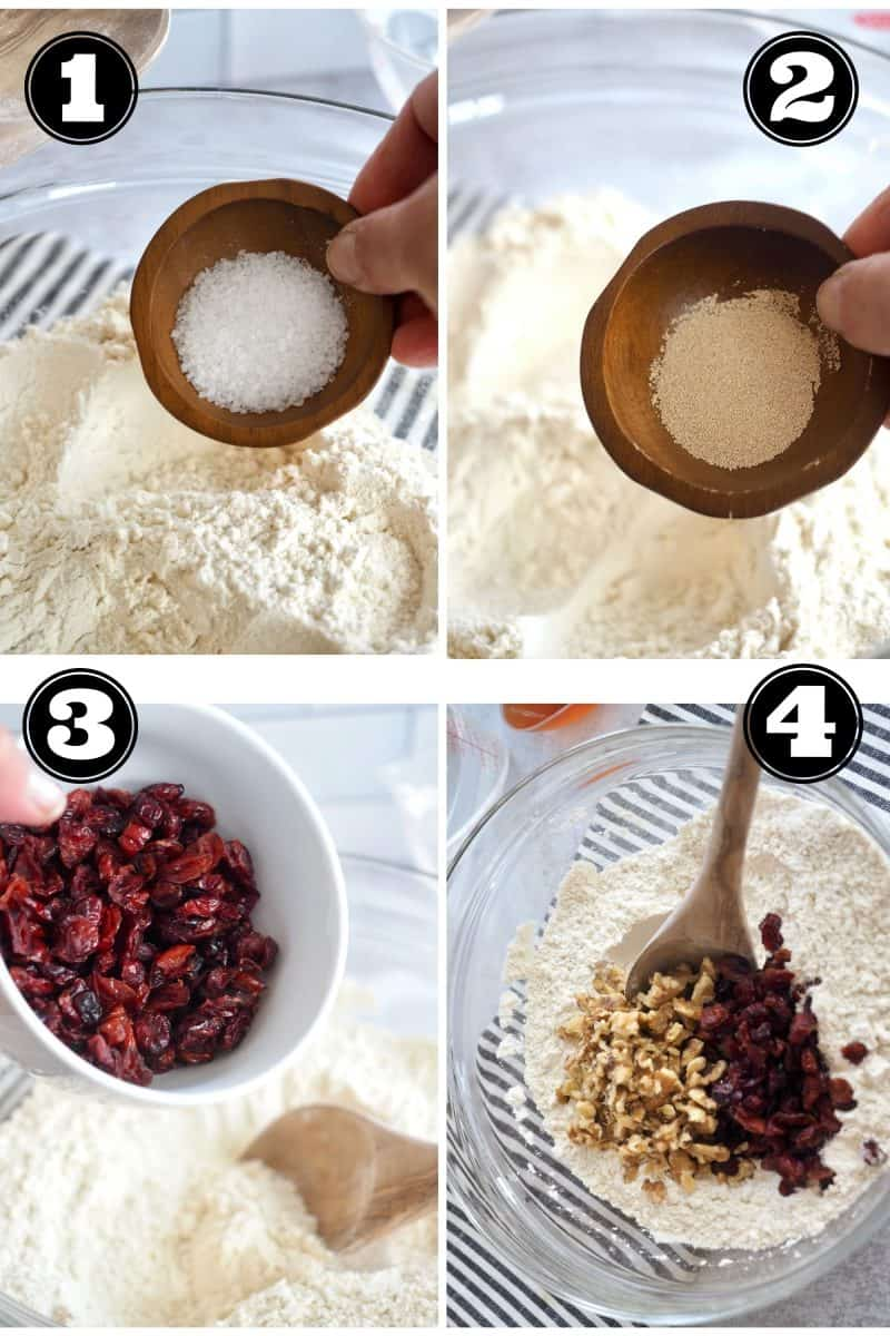 Process shots for no knead bread. 1. adding salt. 2. adding yeast. 3 adding cranberries and 4. adding walnuts and stirring into flour mixture.