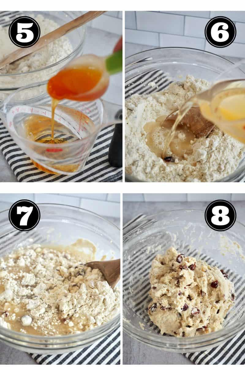 Process shots for no knead bread. 5. pouring honey into warm water. 6. pouring honey water into flour mixture. 7. stirring well with wooden spoon. 8. rustic dough in glass bowl.