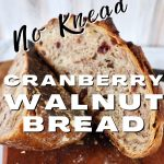 Pin for No Knead Cranberry Walnut Bread with two halves of bread leaning againts each other.