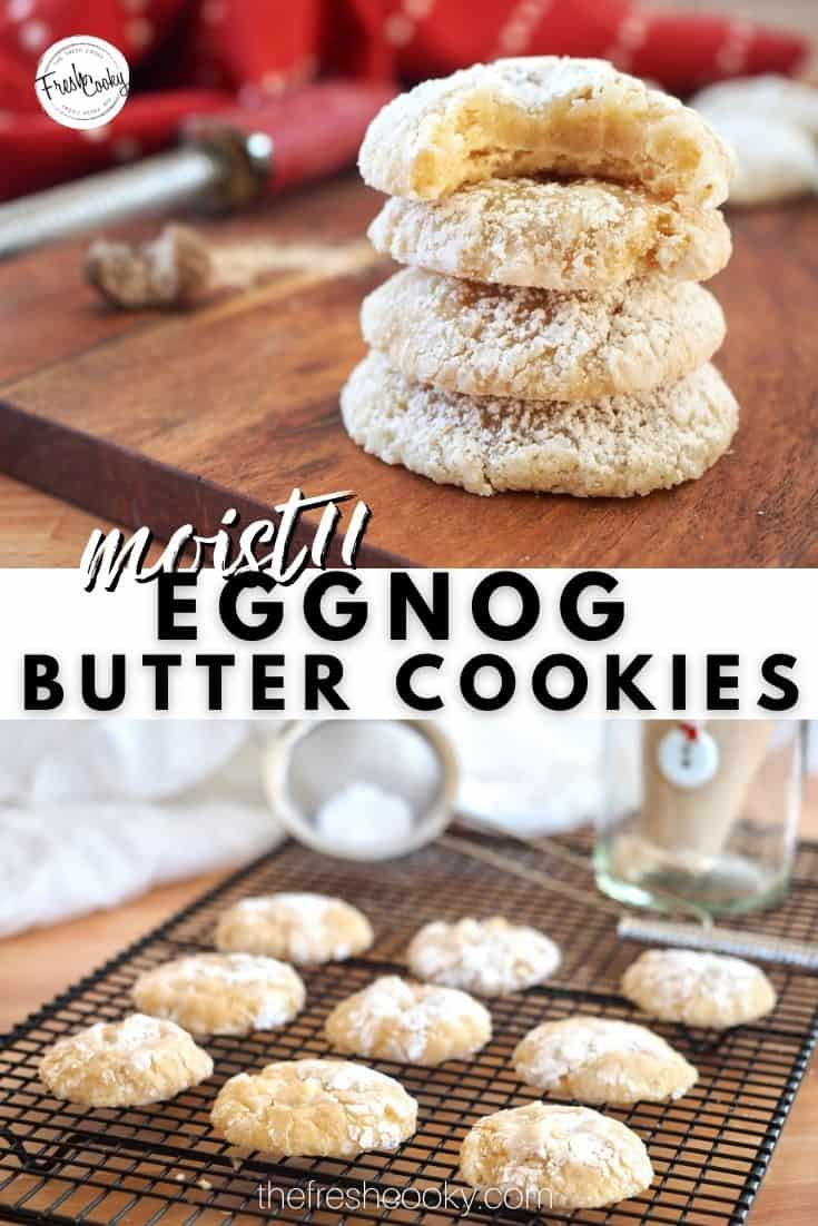 The best gooiest, chewy, eggnog butter cookies, perfect for holiday baking, Christmas cookie exchanges or just because! #thefreshcooky #eggnogcookies #christmascookies via @thefreshcooky