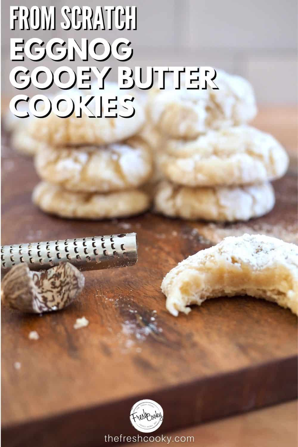Your new favorite Christmas cookie recipe! The best gooey butter cookies - holiday style with eggnog! Great for the holidays! #thefreshcooky #buttercookies #christmasbaking via @thefreshcooky