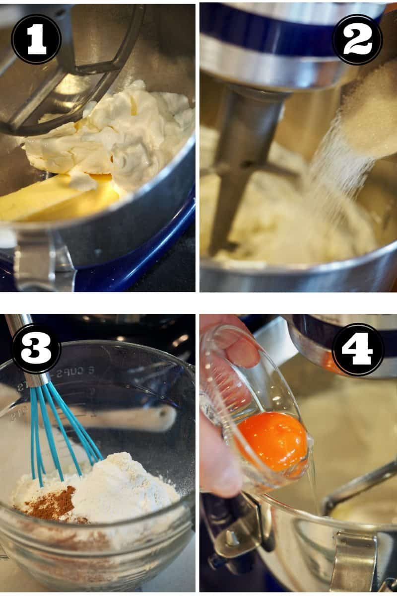 Process shot for eggnog cookies. 1. butter, cream cheese, Greek yogurt in mixing bowl. 2. adding sugar. 3. mixing dry ingredients. 4. adding egg