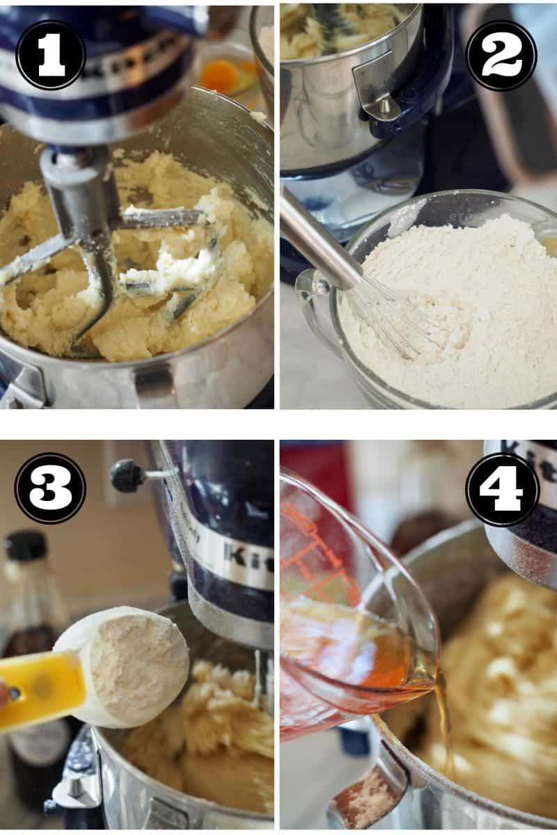 Process shots for Greek Butter Cookies. 1. creaming butter, sugar and vanilla. 2. Whisking cake and all purpose flour and baking powder. 3. Adding flour to butter mixture. 4. pouring cinnamon water into dough