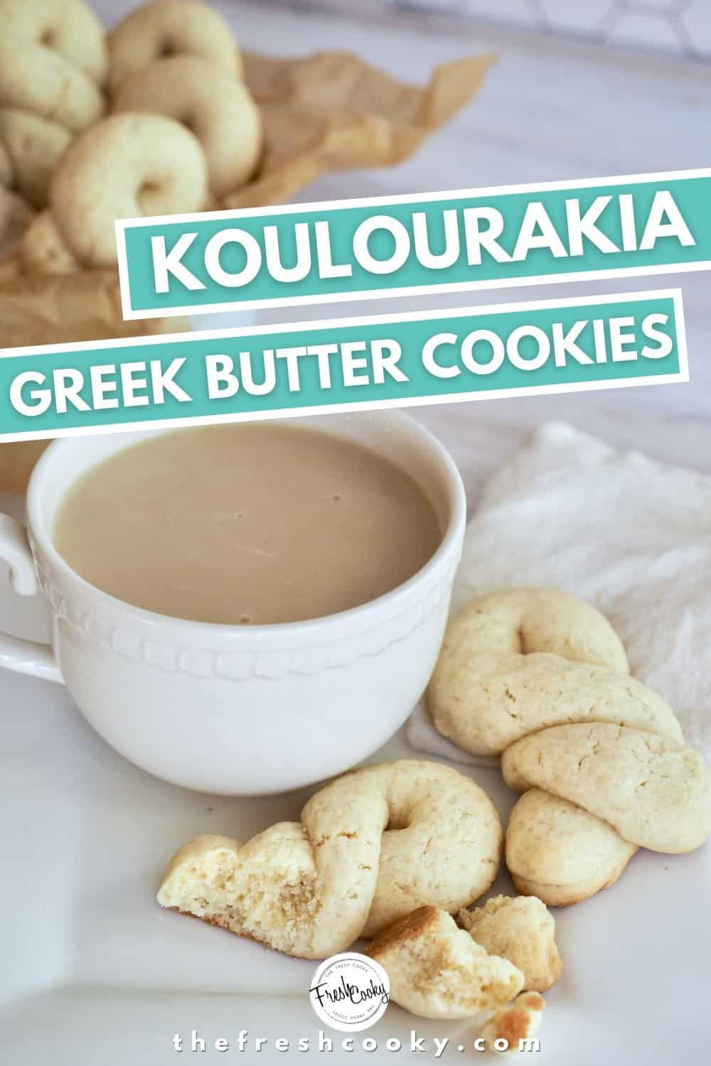 Greek Butter Cookies also known as Koulourakia are an easy to make  butter sugar cookie shaped into traditional twists, crescents and other forms. A great cookie to make with kids. Perfect for holiday gatherings, Christmas cookie exchanges and Easter celebrations. #thefreshcooky #koulourakia #buttercookies via @thefreshcooky