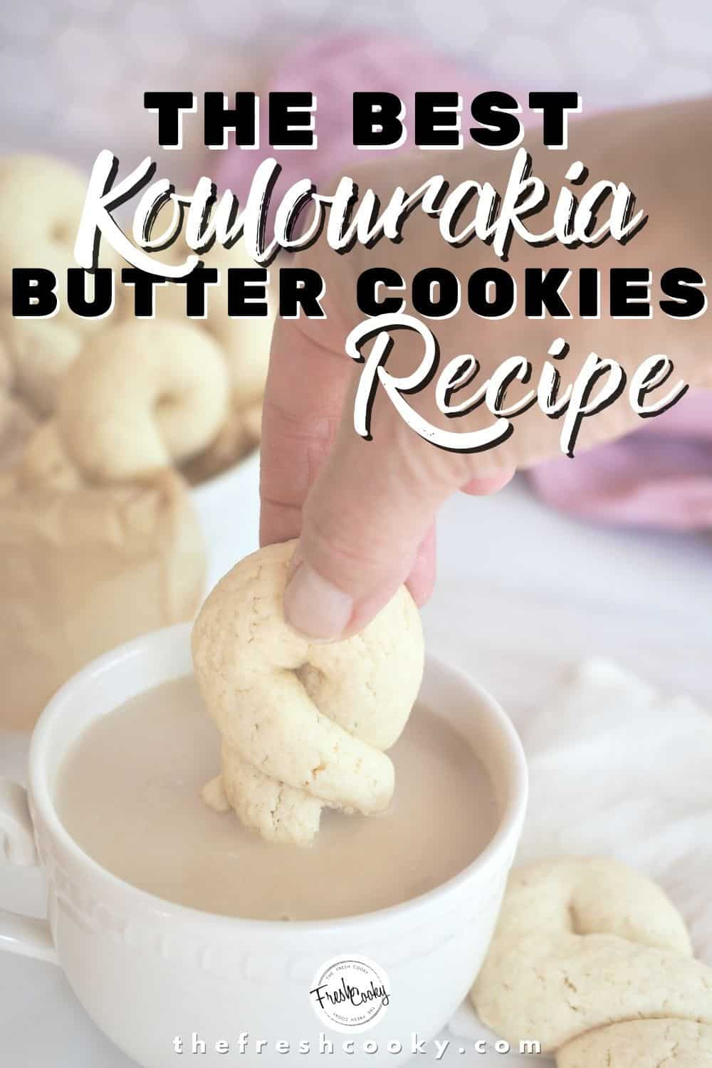 Greek Butter Cookies also known as Koulourakia are an easy to make  butter sugar cookie shaped into traditional twists, crescents and other forms. A great cookie to make with kids. Perfect for holiday gatherings, Christmas cookie exchanges and Easter celebrations. #thefreshcooky #koulourakia #holidaybakingideas via @thefreshcooky