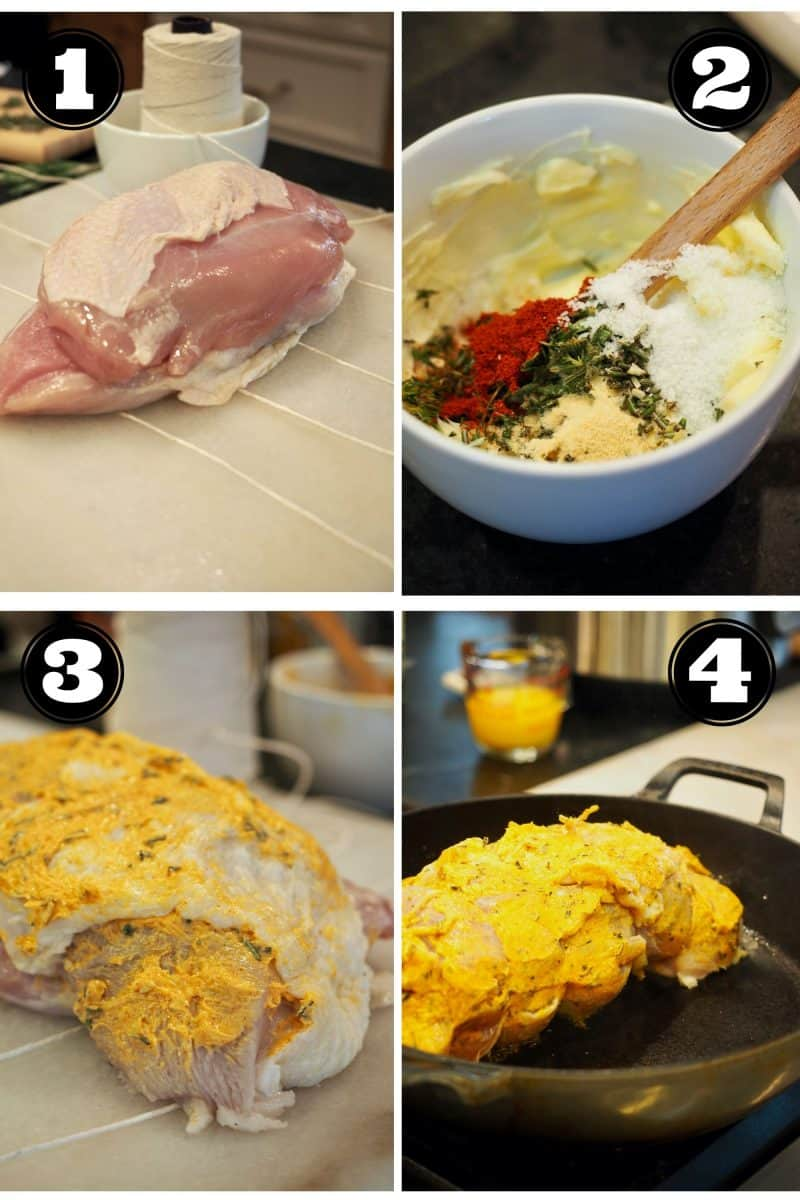 Process Shots for Instant Pot Turkey Breast. L-R. 1. Turkey breast laid out on twine for trussing. 2. Mixing herbs and spices into butter for rub. 3. Rubbed Turkey Breast. 4. Searing turkey breast.