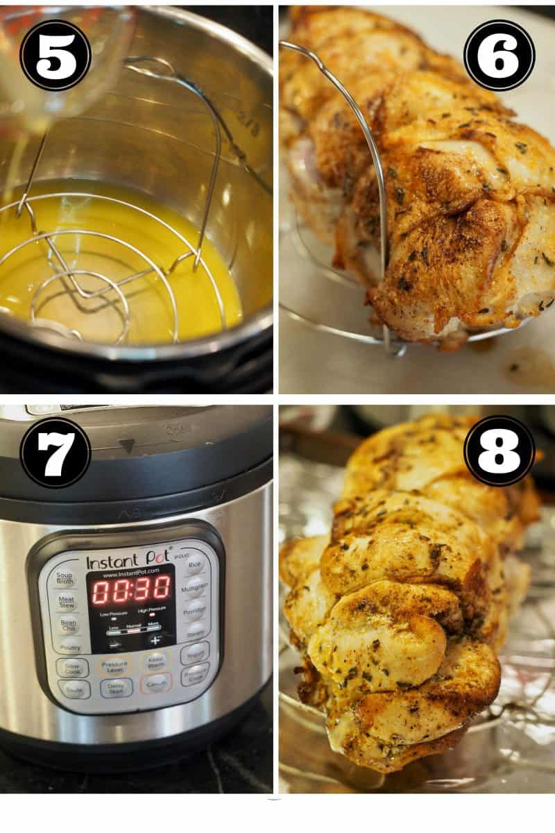 Process shots for Instant Pot Turkey Breast. 5. Pour Orange Juice and pan drippings into instant pot. 6. Placing seared turkey breast onto trivet. 7. Instant Pot set to 30 minutes. 8. Finished Turkey breast.