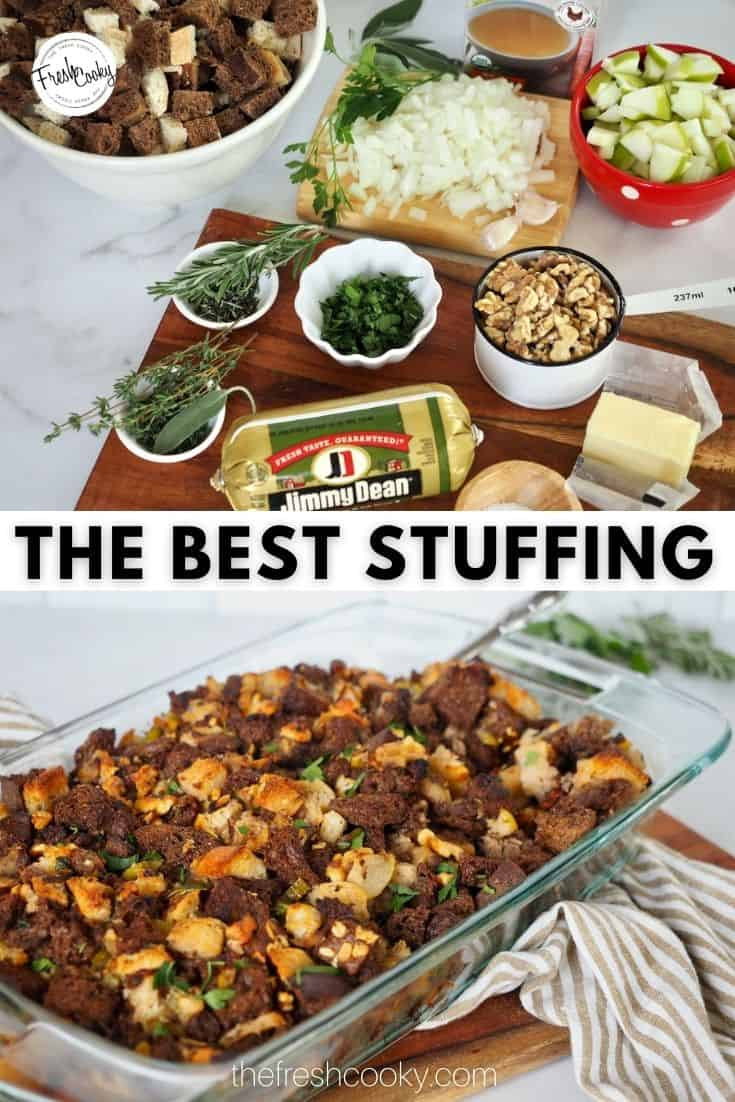 Your new favorite Thanksgiving turkey stuffing or dressing side dish. Savory sausage, apples, walnuts and fresh herbs. The best stuffing ever, ideal for Thanksgiving or Christmas side dish. Make ahead and freezer. #thefreshcooky #beststuffingrecipe #holidayside via @thefreshcooky