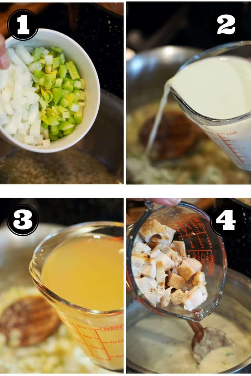 Process shots for wild rice casserole. 1. adding onion and celery to pot. 2. pouring in milk or cream. 3. pouring in chicken stock. 4. adding chopped chicken to cream mixture.