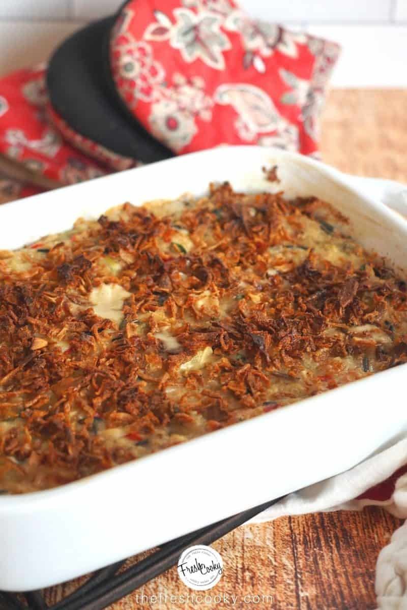 Image of casserole dish filled with easy wild rice and chicken casserole