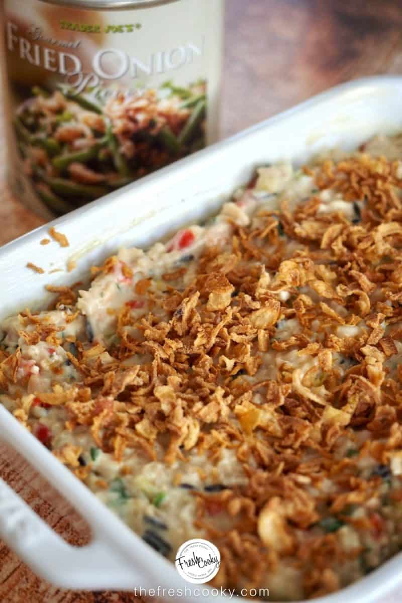 Crispy onion tin with ready to go in oven wild rice supreme casserole