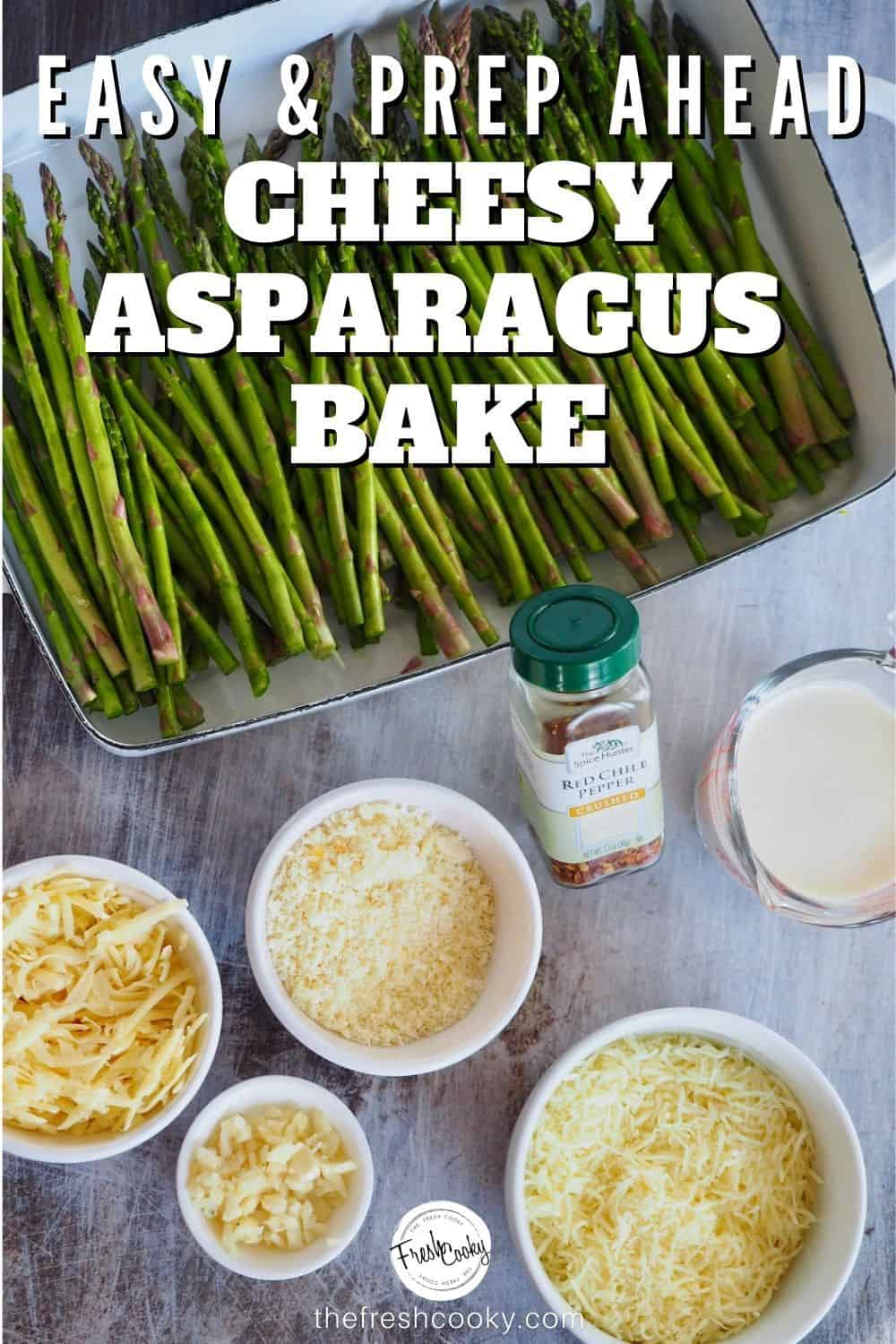 This recipe for roasted  garlic cheesy asparagus bake is an amazing vegetable side dish from The Fresh Cooky. No fail, 5 minute prep, best holiday side. Gluten Free and Keto. #thefreshcooky #holidaysides #bakedasparagus via @thefreshcooky
