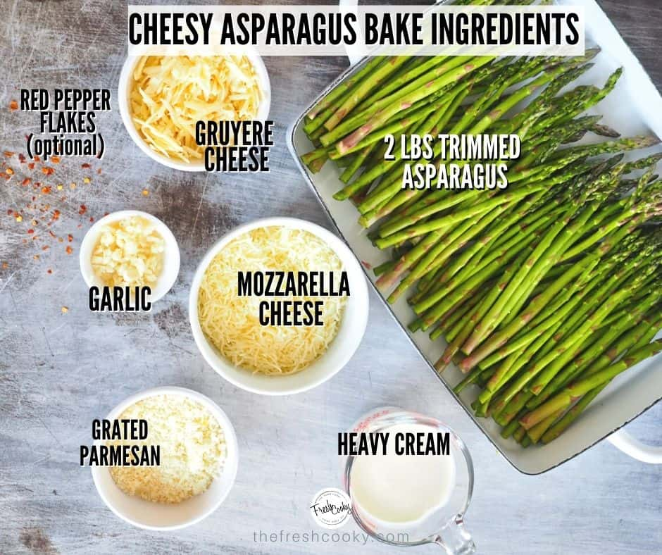 Cheesy Asparagus Bake ingredients. L-R gruyere cheese, trimmed asparagus, heavy cream, gruyere cheese, mozzarella and minced garlic