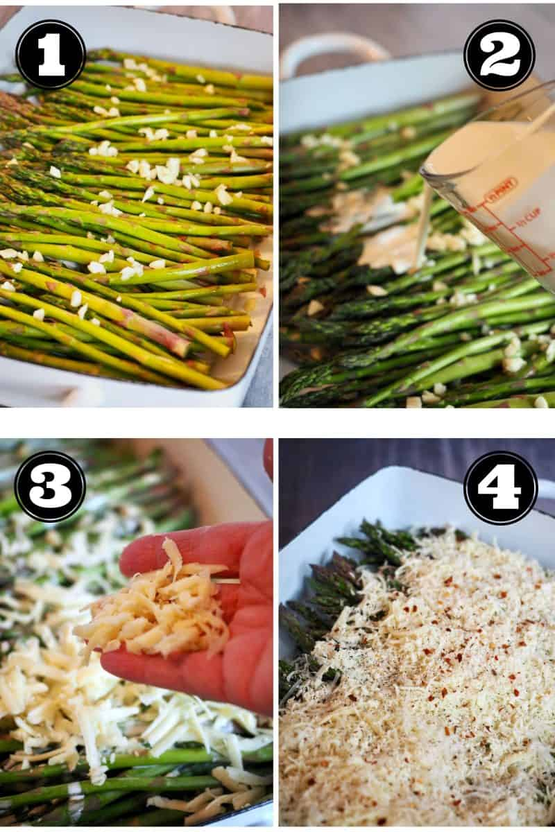 Process shots for cheesy asparagus bake. 1. trimmed asparagus with chopped garlic. 2. pouring heavy cream 3. adding shredded cheese. 4. add cheese with sprinkles of red pepper flakes