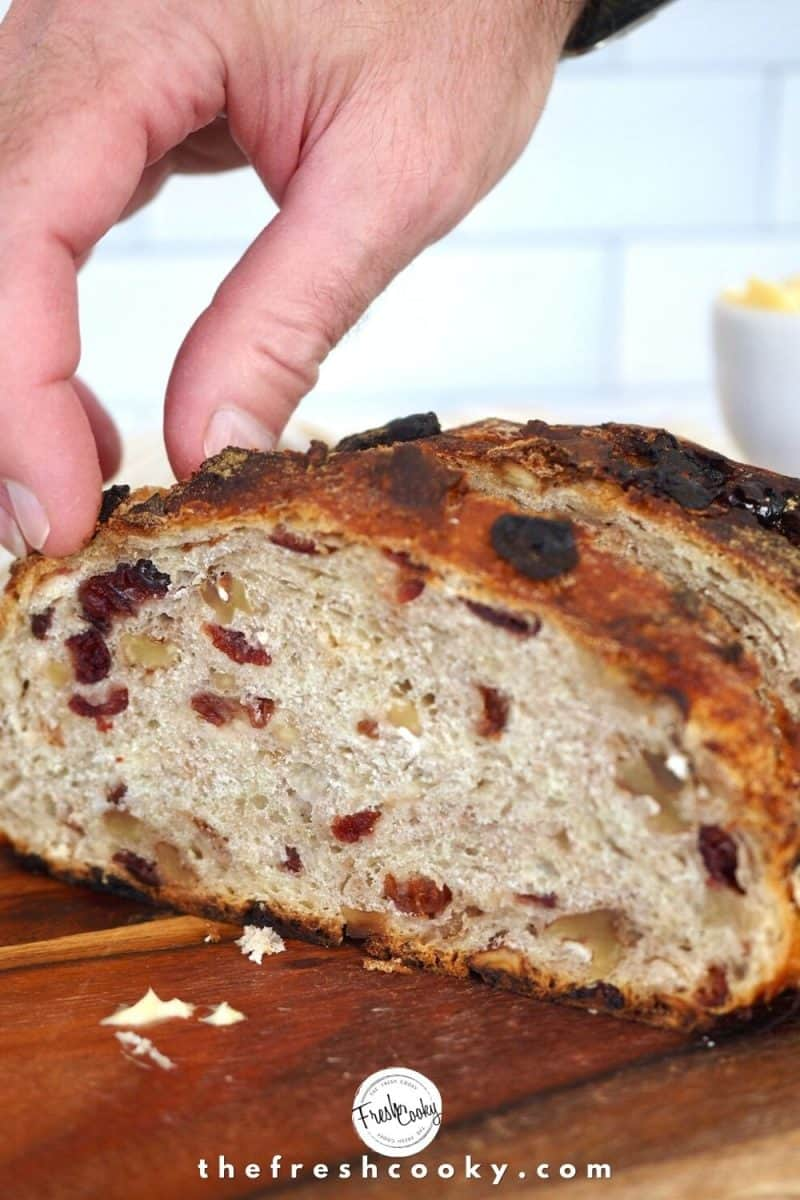 Man's hand pulling a freshly sliced piece of cranberry walnut bread from loaf.