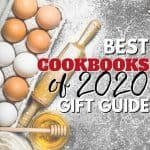 Pinterest Image of eggs, rolling pin with Best Cookbooks of 2020 gift guide