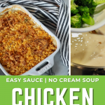 Long pin for Chicken Divan (or Turkey) with three images of crusted topped chicken divan recipe and one image showing adding broccoli.