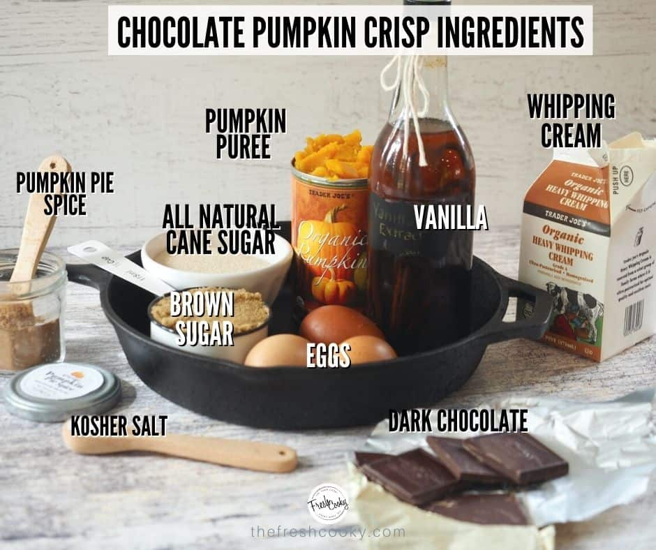 Ingredients shot for Chocolate Pumpkin Crisp.