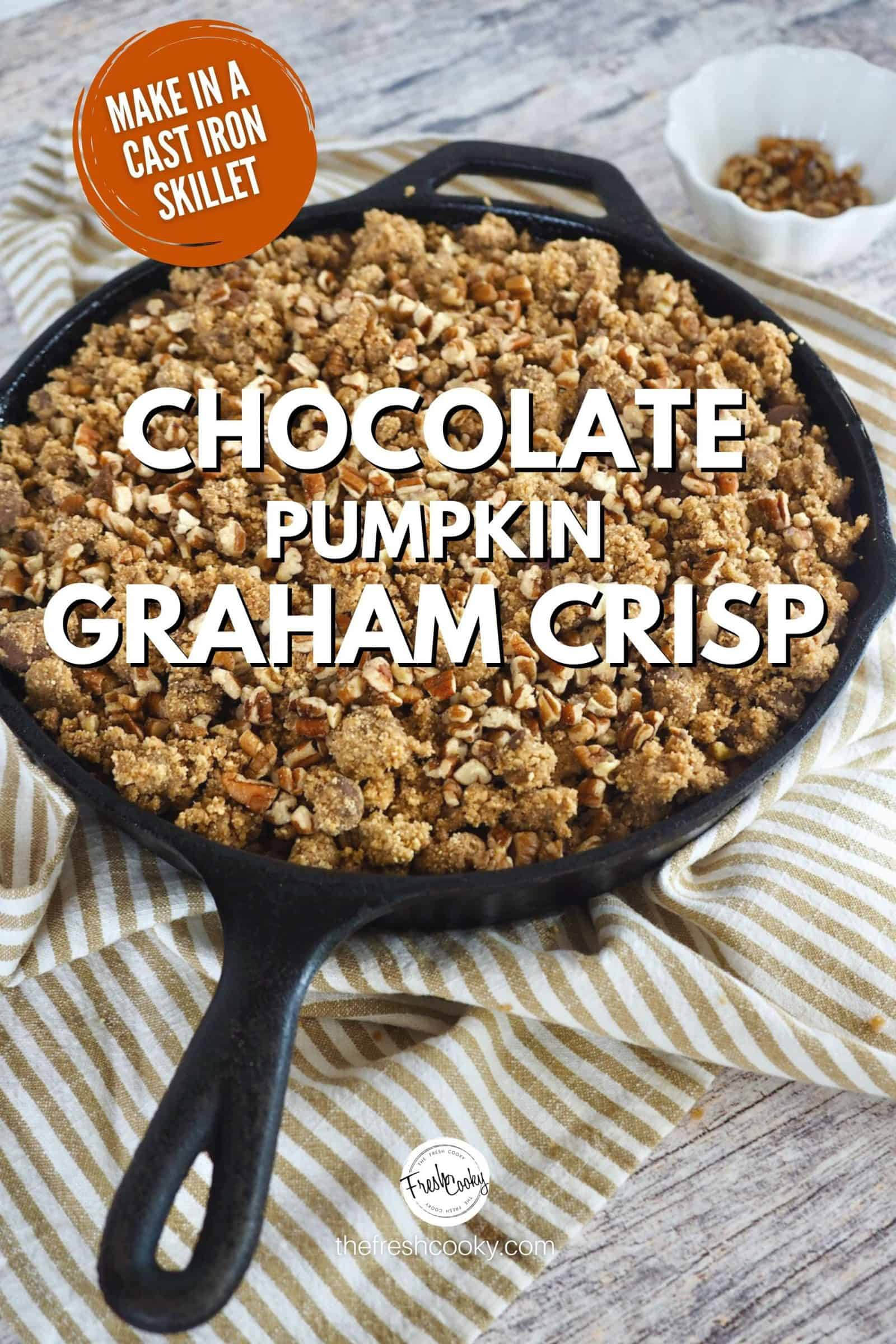 Chocolate Pumpkin Graham Crisp recipe from the cookie is a brand new fusion for all of you chocolate lovers out there! With a simple graham crisp topping, served warm with a scoop of ice cream for a delicious, make ahead holiday dessert. High altitude and gluten free adjustments included! #thefreshcooky #pumpkincrisp #bestholidaydesserts via @thefreshcooky