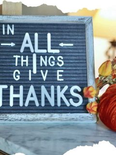 Fall Letter board with words In ALL things give Thanks with a velvet pumpkin and fall leaves