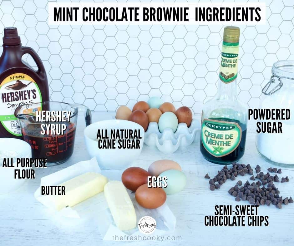Recipe Ingredient shot for Mint Chocolate Fudge Brownies, each ingredient labeled