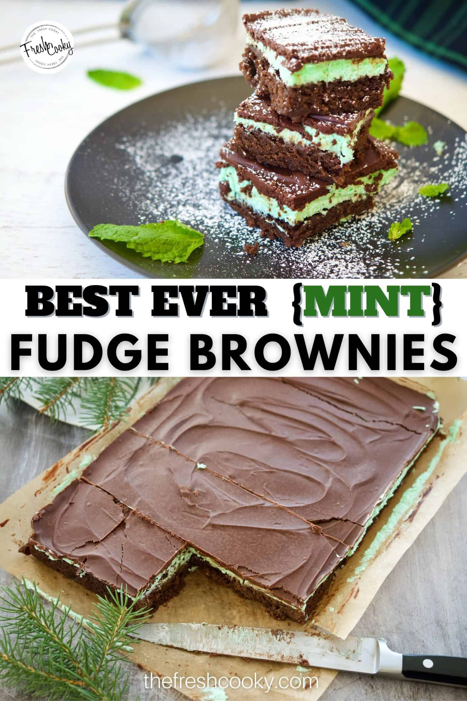 Grab your mixer, you are going to love these easy layered mint fudge brownies. Using Hershey's syrup, creme de menthe and chocolate chips, they are rich and decadent! Great for holiday baking gatherings! High altitude adjustments included. #thefreshcooky #grasshopperbrownies #holidayrecipes via @thefreshcooky