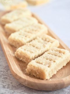 wooden platter filled with shortbread fingers