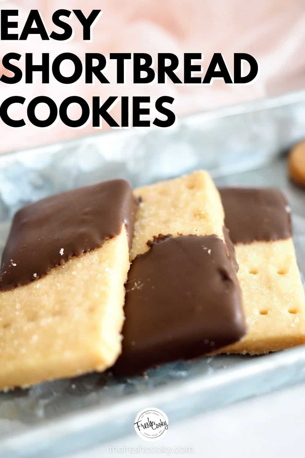 The best easy, shortbread cookie recipe. 4 ingredients plus instructions on how to dip in chocolate, or cut out. A classic buttery cookie, perfect for the Christmas holiday baking. #thefreshcooky #holidaycookierecipes #shortbread via @thefreshcooky