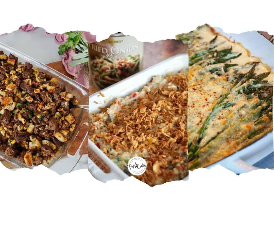 Images of three make ahead Thanksgiving sides. Stuffing, Wild Rice Supreme and Cheesy Asparagus bake