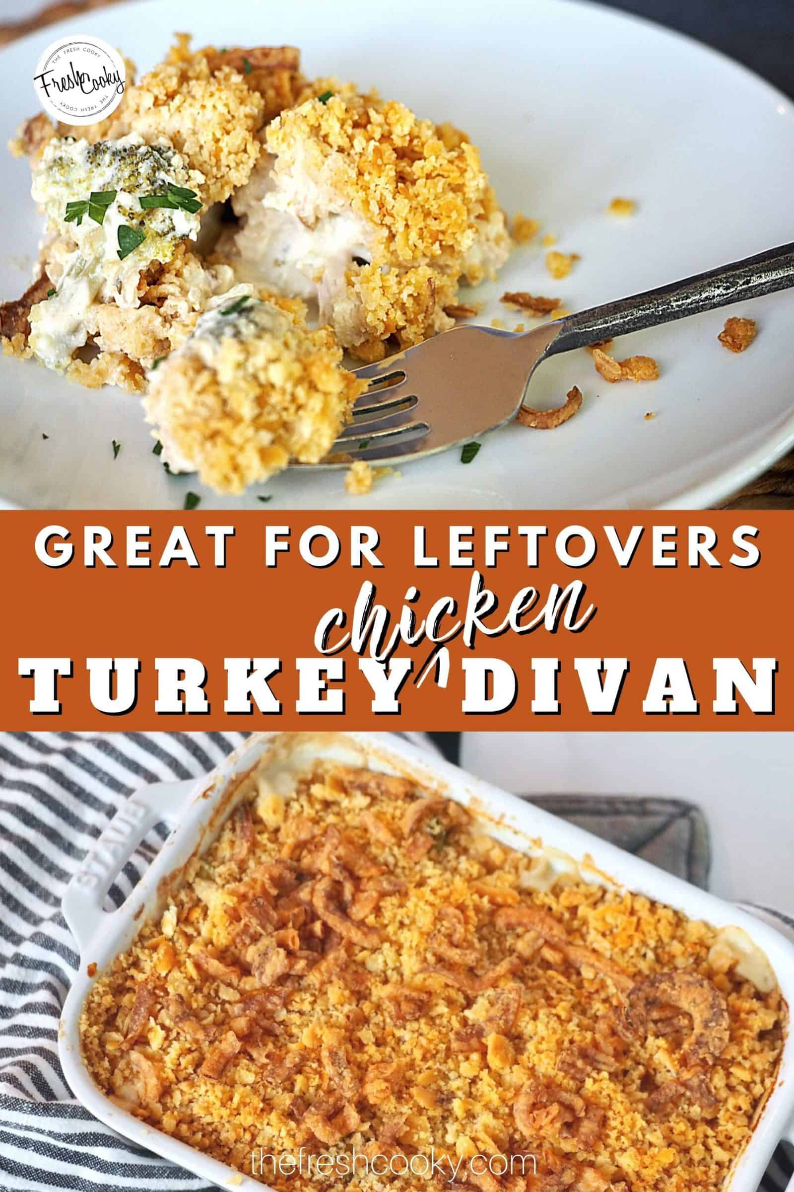 Your next favorite, new way to use leftover turkey this holiday season! Turkey (or chicken) divan made with all natural ingredients, broccoli and topped with a crispy butter cracker topping. #thefreshcooky #leftoverturkeyrecipes #bestturkeydivan via @thefreshcooky