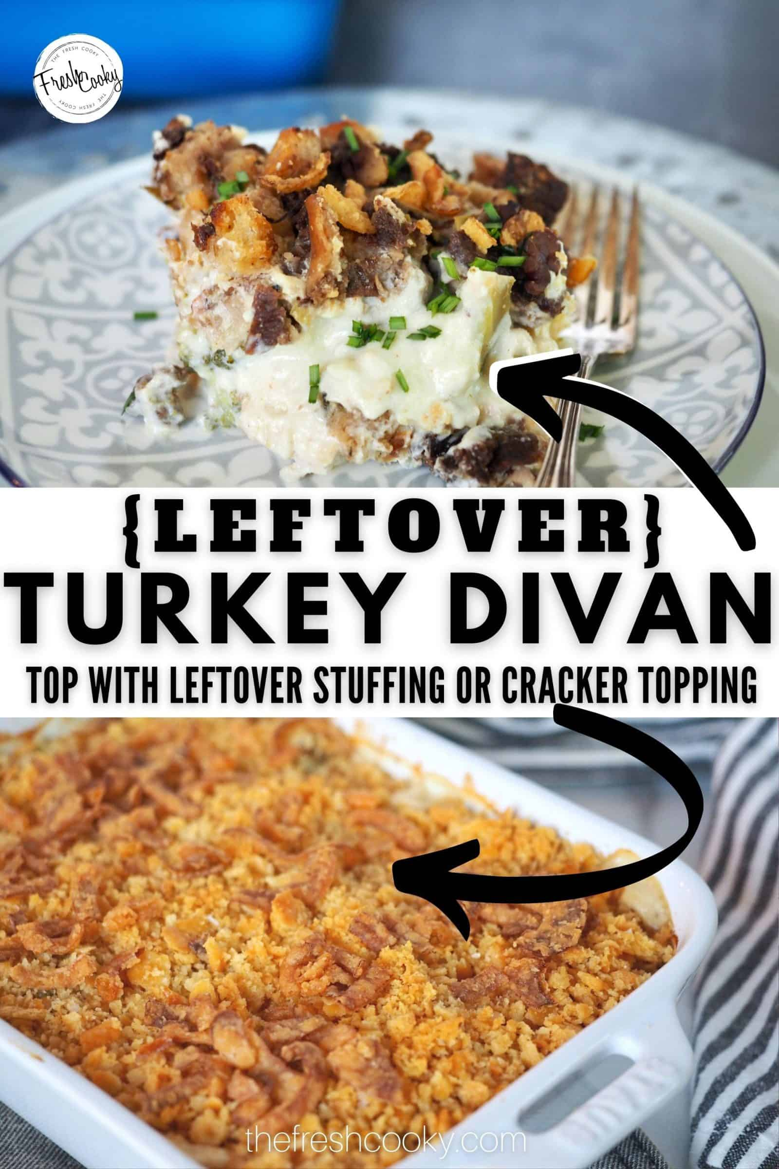 This classic Leftover Turkey Divan is the best way to use leftover turkey or chicken this Thanksgiving or Christmas. Using a traditional mornay cheese sauce, there aren't any canned soups or mayo in this recipe. Comfort food casserole at it's finest! Uses leftover stuffing as the topping with crunch fried onions. #leftoverturkeyrecipes #bestturkeydivan #thefreshcooky via @thefreshcooky