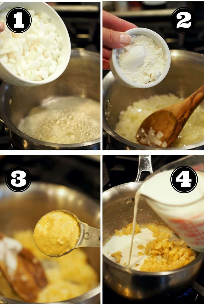 Process shots for turkey divan. 1. Adding chopped onion to melted butter. 2. Stirring in all purpose flour. 3. Adding Dijon mustard. 4. adding whole milk