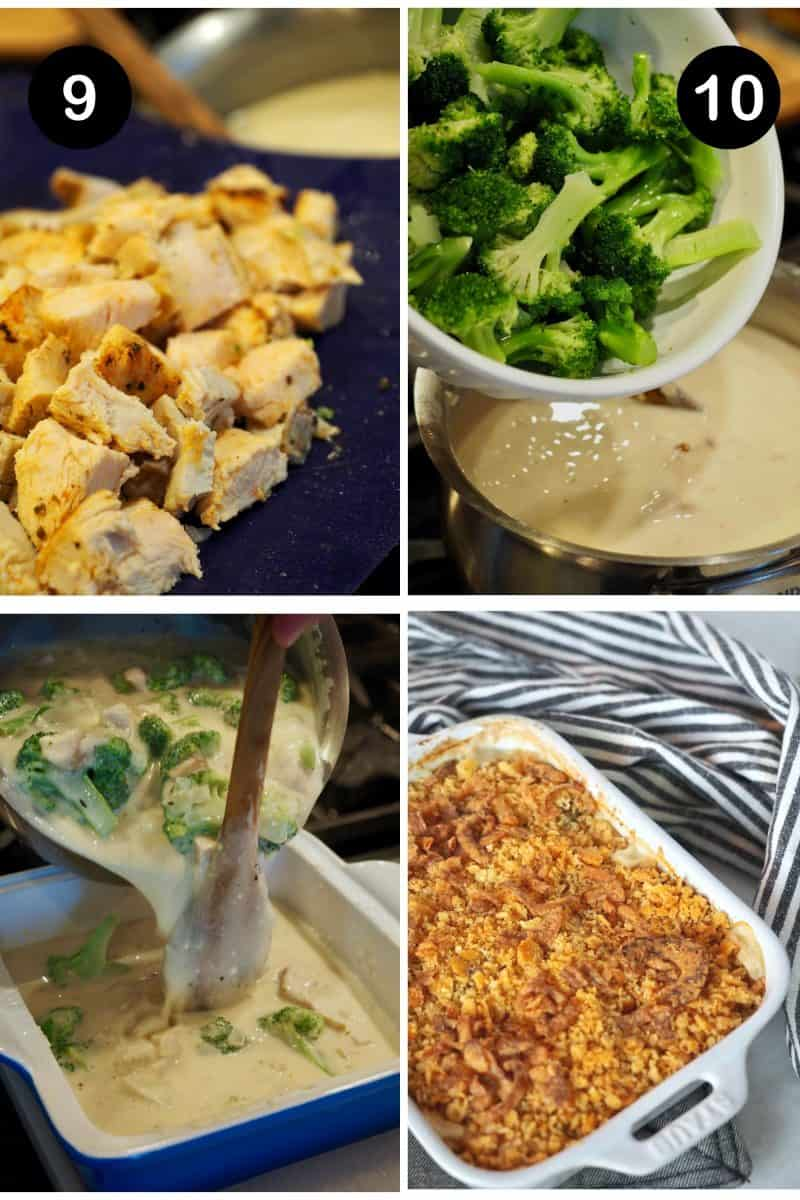 Process shots for Turkey Divan Recipe 9. Adding leftover turkey 10. Adding broccoli florets 11. Pouring mixture into baking dish 12. topped with cracker topping